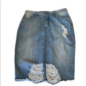 ITALYPearl/Rhinestone ChainsDistressed Denim Skirt